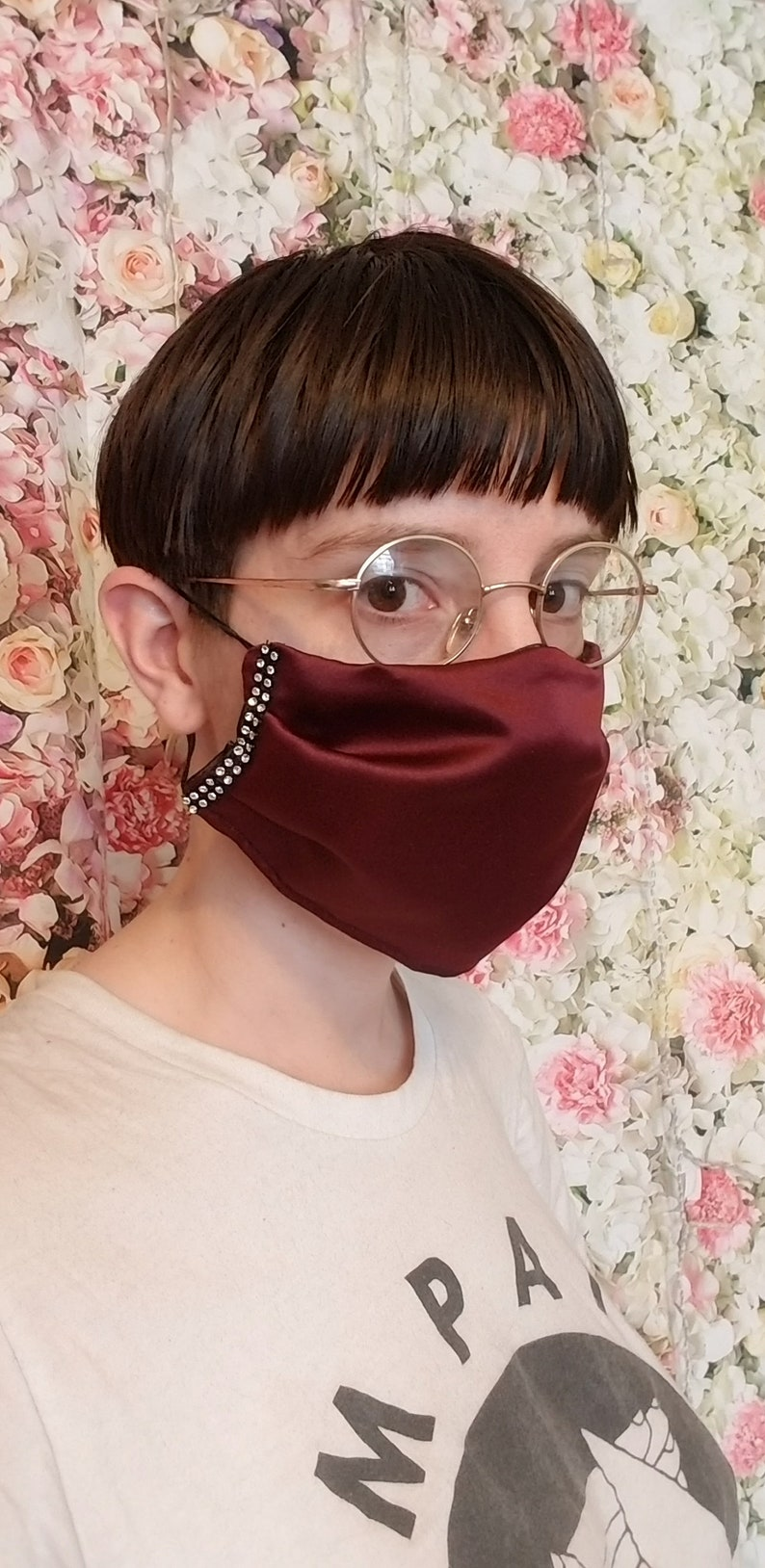 Personalized Face Mask with Rhinestones and Wire Nose Fit image 0