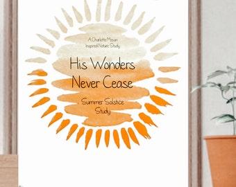 His Wonders Never Cease - Summer Solstice Nature Study, Nature Study, Homeschool, Summer Nature Study, Homeschool Resources, Printable