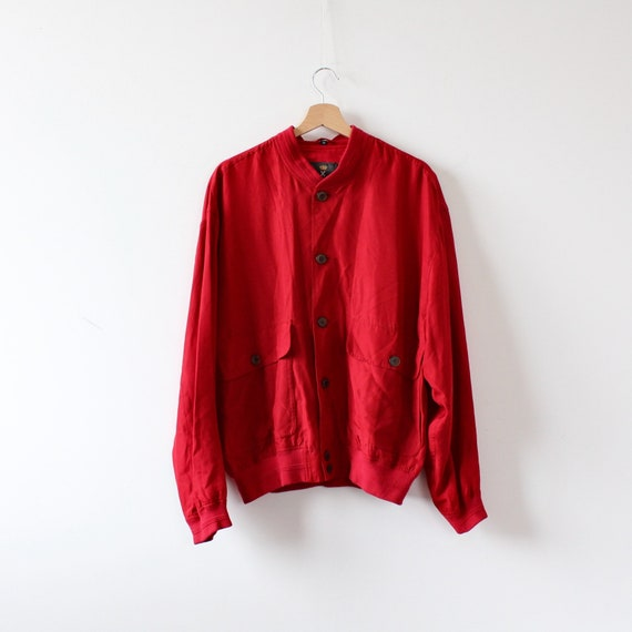Men's Ivy Oxford Red Silk Jacket Man Vintage 90s … - image 6