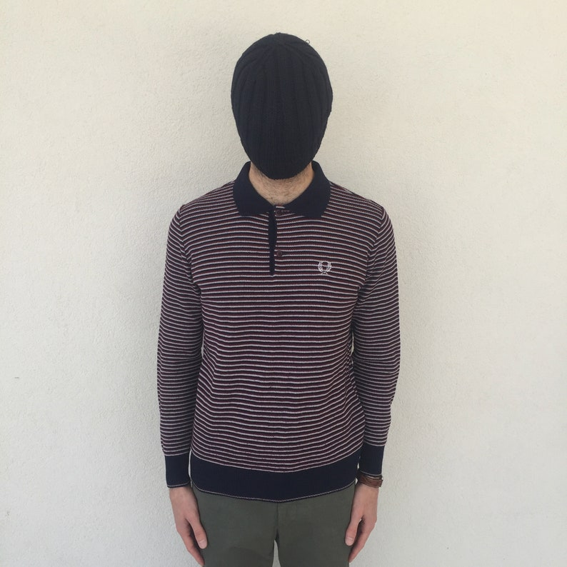 Men/'s Rare Fred Perry Sportswear Navy Red White Striped Polo