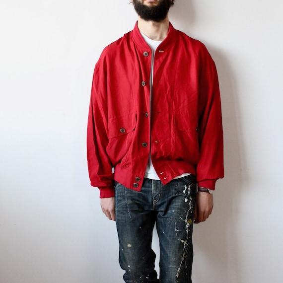 Men's Ivy Oxford Red Silk Jacket Man Vintage 90s … - image 2