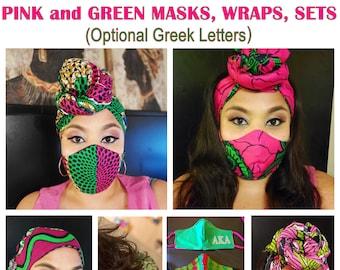 Pink & Green Masks, Wraps, Sets (Greek Letters optional, Filter Included)