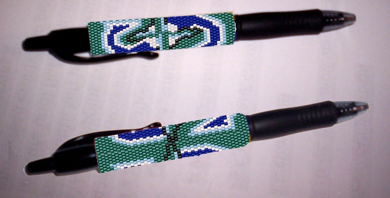 Pen Wrap PATTERN ~ Seattle Mariners Version 2 Peyote stitch