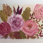 Bouquet of Roses Oil Painting // Gifts for Her // Wall Hanging