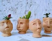 Head Pots Air Planters set 4 1, Mini Head sculpture pots, Face Pot, Succulent Tiny Pottery Planter, Cactus tiny Ceramic head sculpture