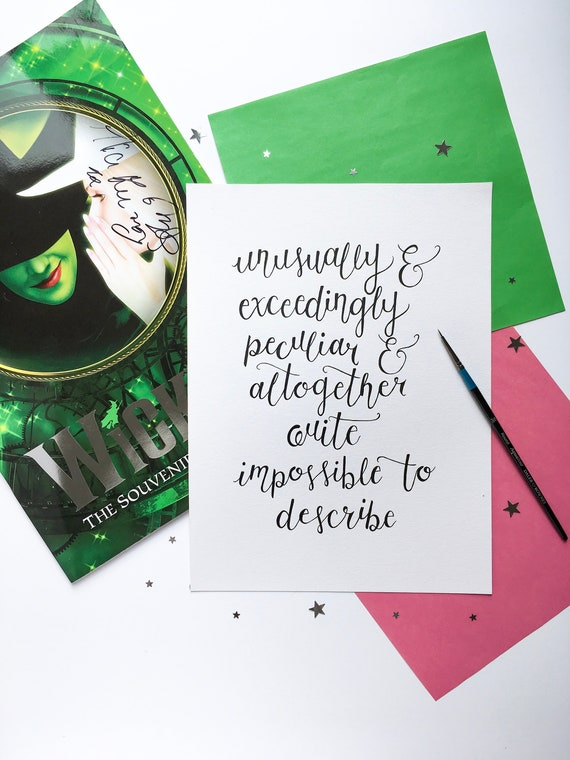 Original A4 Hand Painted Watercolour Glinda Quote From Wicked Etsy