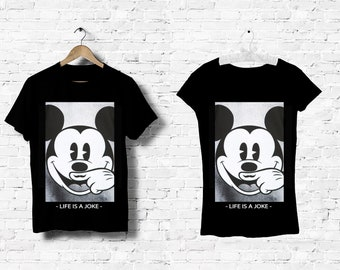 f90677ee8cb T-Shirt black man women Men Women Top Mickey Mouse Disney Eleven paris Life  is a Joke Moustache