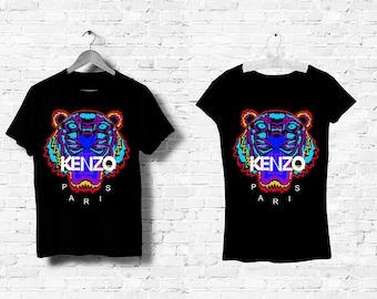 T-Shirt Noir Homme Femme Men Women Top Kenzo Tigre Tiger Logo Italy Milan  Paris Black White Noir Blanc S M L XL XXL b4e60507753