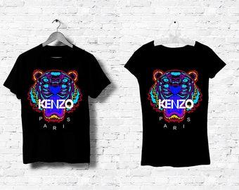 T-Shirt Noir Homme Femme Men Women Top Kenzo Tigre Tiger Logo Italy Milan  Paris Black White Noir Blanc S M L XL XXL 24510d2ad30