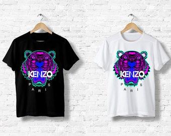 T-Shirt Noir Homme Femme Men Women Top Kenzo Tigre Tiger Logo Italy Milan  Paris Black White Noir Blanc S M L XL XXL 6c1b1841027