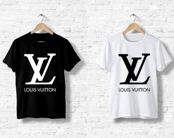 d0f5ddef43c2 T-Shirt Homme Femme Men Women Louis Vuitton LV Logo Jeans Paris Luxe S M L  XL XXL Noir Blanc Black White