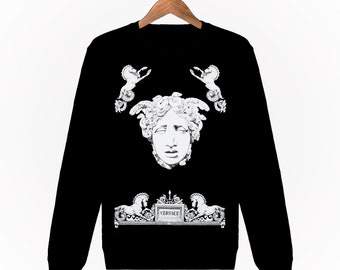 Sweatshirt Mixte Unisexe Homme Femme Men Women Sweat Gianni Versace Medusa  Il Tempo Paris Luxe S M L XL XXL Noir Black 5fe9f6a9fb0