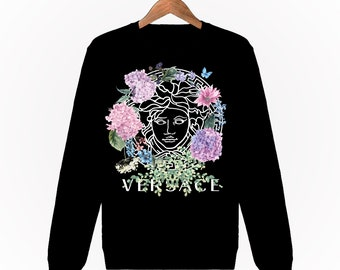 Sweatshirt Mixte Unisexe Homme Femme Men Women Sweat Gianni Versace Medusa  Fleurs Flowers Roses Paris Luxe S M L XL XXL Noir Black 5e6376152fa