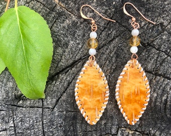 Alaskan Birch Bark Earrings - Orange and Yellow Oval with White Stitching and Citrine Bead