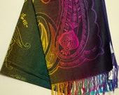Pashmina - Rainbow on Black - festival scarf shawl