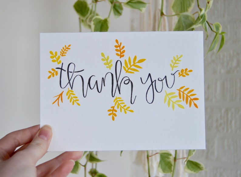 5x7 Watercolor Paper Cards thank you Hand Lettered Calligraphy Thank You Card Set 10 Cards in a Set