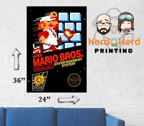 Super Mario Bros Nes Game Box Cover Art Poster Etsy