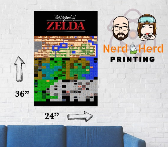 Zelda Map Custom Wall Poster Nes Multiple Sizes And Paper Types