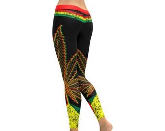 c972fc339be21 Weed Leaf Rasta Leggings, Marijuana Leggings, Leggings for Women, Workout  Pants Women Pot Weed, 420 Clothing, Cannabis Marijuana Leaf Design