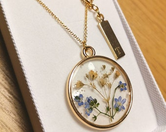 Forget-me-nots personalized locket necklace Anniversary initial gift for her Wedding memory jewelry gift Custom necklace Real flower pendant