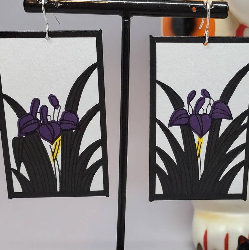 Iris Hanafuda Card Earrings Traditional Cards