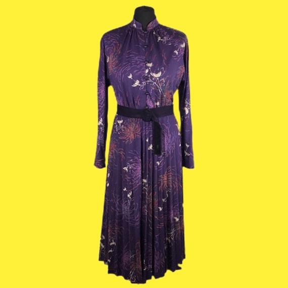 Vintage 70s Purple Pleated Dress Midi Dress Knee L