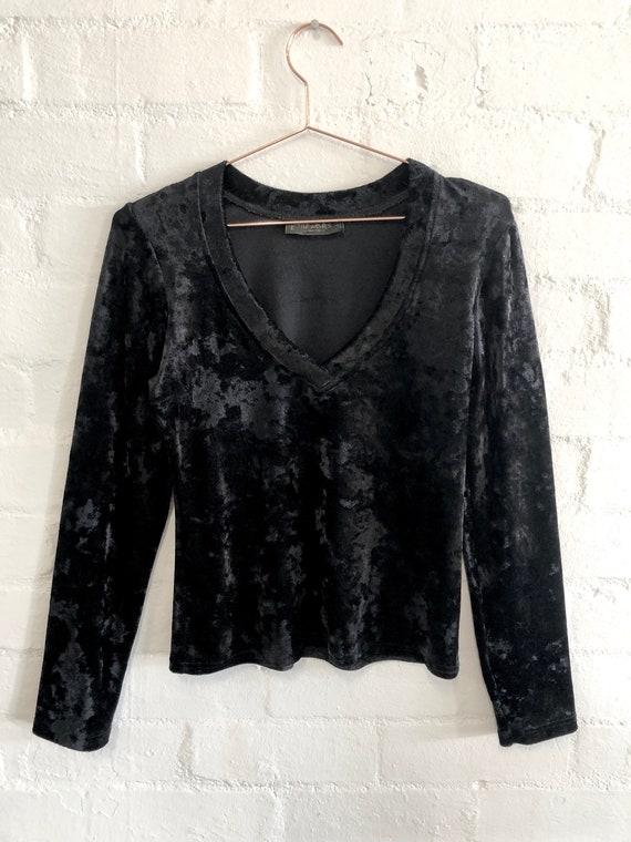Vintage 90's Black Crushed Velvet V Neck Top