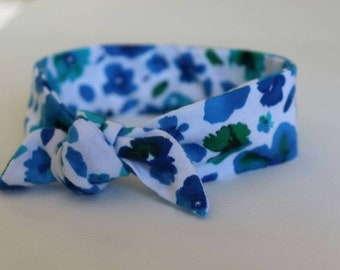 0-3 Months Headband Bright Blue Green Flowers Organic Cotton Top Knot  Headbands 66286052219