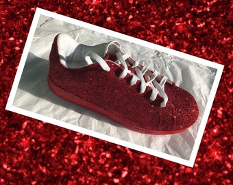 4956332d0c5e Red Glitter Shoes Women Ruby Red Glitter Tennis Shoes with Red Shimmery  Bottoms **Free U.S. Shipping** JCo.Custom Sneakers