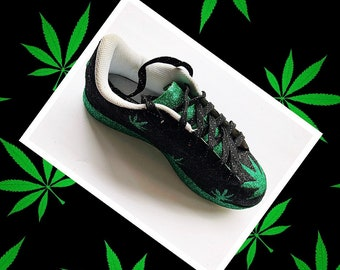 buy online 1934a b4d72 Cannabis Weed Shoes Women s Custom Green Black Green White Glitter Sneakers   Free U.S. Shipping  JCo.Custom Sneakers