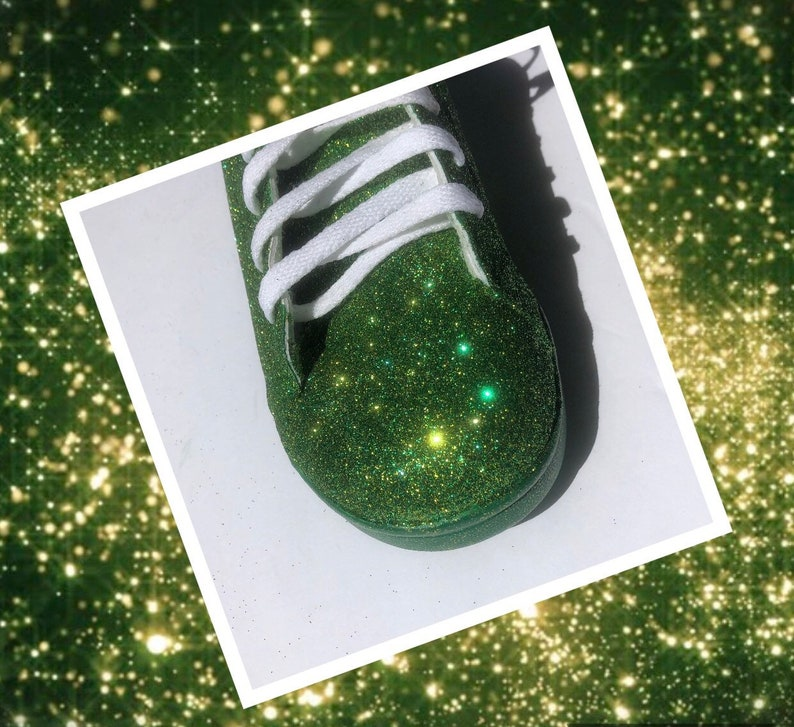 Green Gold Shoes Women/'s Green and Gold Glitter Shoes with Green and Gold Sparkle Bottoms *Free U.S Shipping* JCo.Custom Sneakers