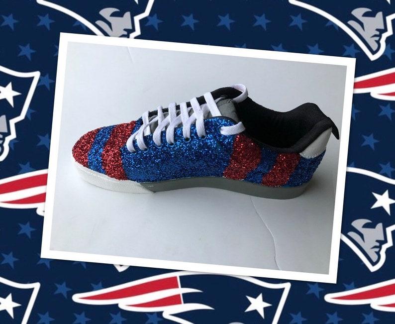 Shipping* JCo.Custom Sneakers Patriots Football Women/'s Custom Blue Red White Silver New England Glittered Tennis Shoes *Free U.S