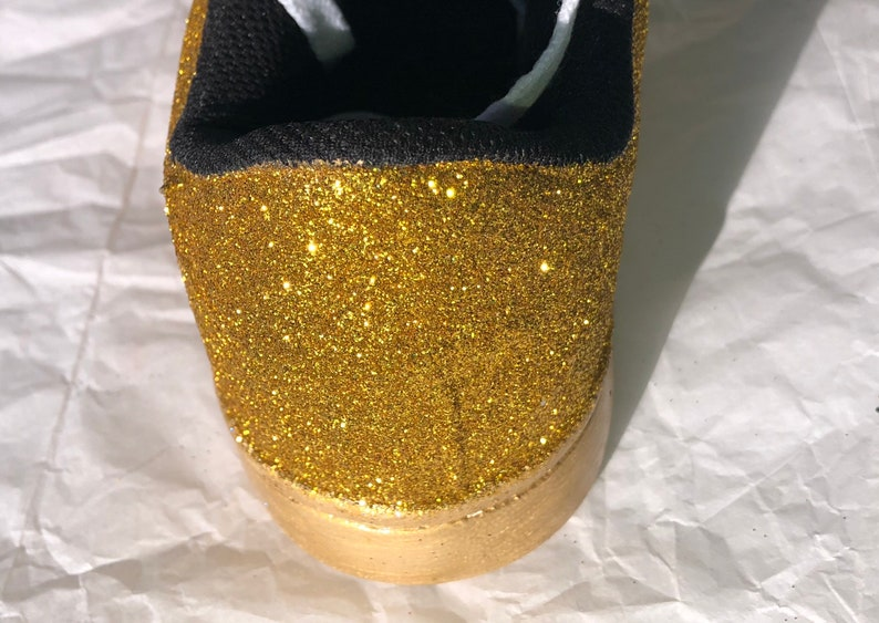Shipping** JCo.Custom Sneakers Gold Bridal Shoes Women/'s Gold Glitter Sneakers with Gold Shimmer Bottoms **Free U.S