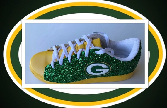 38c97ddc388a6 Packers Football Women's Custom Emerald Green Bay w/Bright Yellow Bottoms  Tennis Shoes *Free U.S. Shipping* JCo.Customs Sneakers