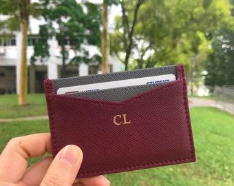 c6d1496c0ac6 Personalised Burgundy Cardholder - Saffiano Microfiber Leather - Monogram  with initials
