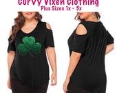 Plus Size St Patrick s Day Glitter Green Shamrock Black Cold Shoulder V-neck Shirt or Matching Tote Bag