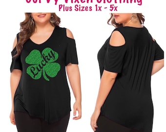 0a2d820d44980 Plus Size St Patrick s Day Glitter Green Lucky Four Leaf Clover Black Cold  Shoulder Vneck Shirt FREE SHIPPING
