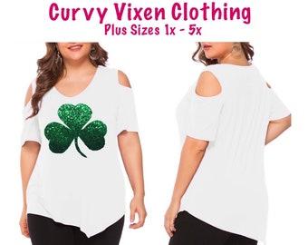 9bb8af456 Plus Size St Patrick's Day Glitter Green Shamrock Clover White Cold  Shoulder Vneck Shirt FREE SHIPPING