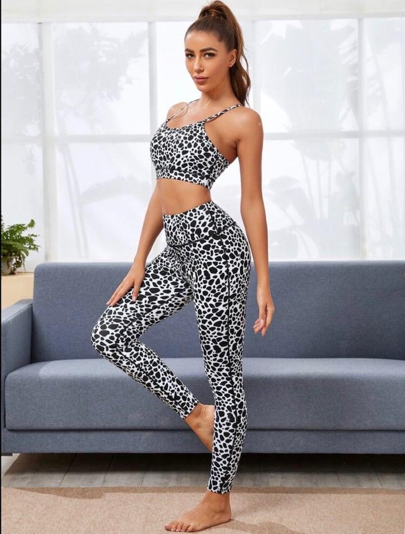 Cow Print Yoga Set  Sport Bra w High Waist Legging Stretchy