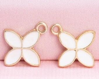 Sedef Enamel Charm 11x14mm 24k Shiny Gold Plated Clover Charm GLD110 Cream Leaf Pendant White Enamel Clover Clover Five Leaf Charms