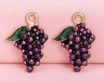 Fruit Charm Purple Grape Glass Charm HL0020-PG 1 Pieces Grape Pendants Fruit Charm