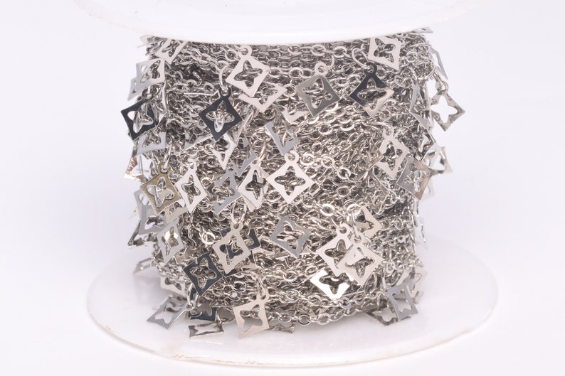 30003-S41 1 FT Floral Square Slice Cable Chain Silver Tone Brass Chains