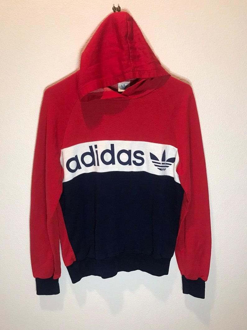 Red Vintage Vintage Adidas Hoodie Hoodie Vintage Red 80's 80's Adidas OPn0ZwN8kX