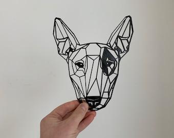 Geometric English Bull Terrier Dog Pet Wall Art Decor Hanging Decoration 3D Printed