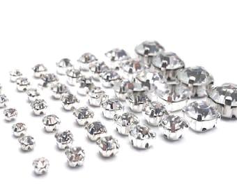 Sew On Clear Crystal Diamante Rhinestones 20x 8mm claws silver back