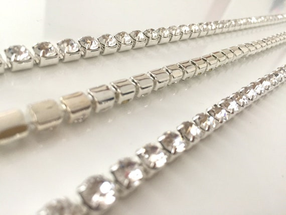 SS16 1M Diamante Chain Trim Rhinestone Crystal Silver Cake Toppers Decorations