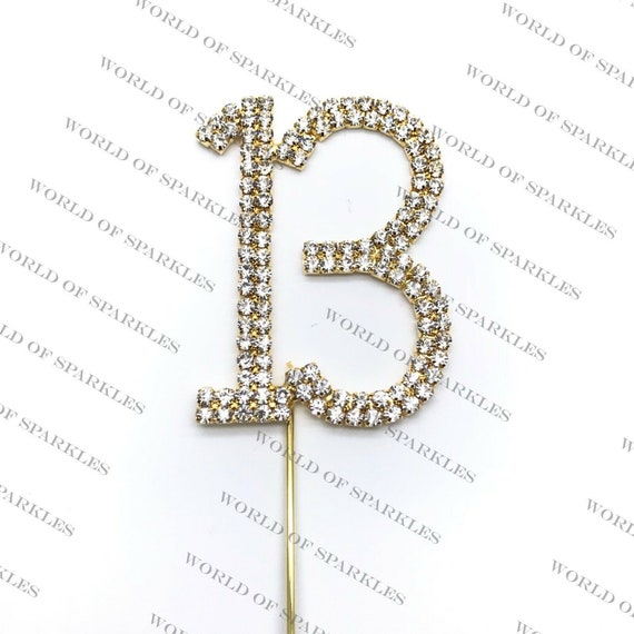 SILVER NUMBER 8 CAKE PICK TOPPER DECORATION 8th DIAMANTE SPARKLY