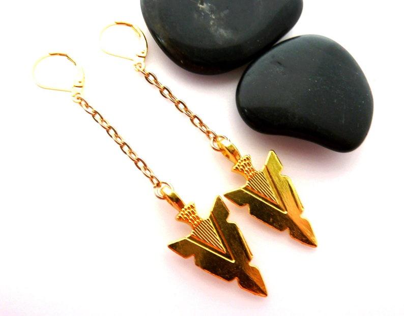Men Dangle earring Men Arrow earring Men/'s gold earring Gift for men Men Viking earring Single earring,Christmas gift,Women Birthday gift