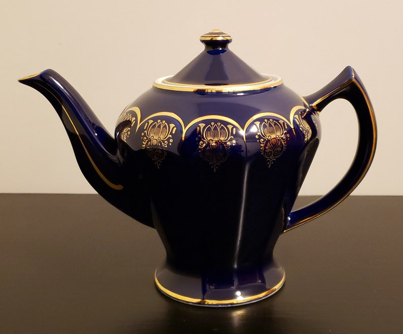 Vintage HALL Superior Quality Teapot Cobalt Blue with Gold Trim /& Filigree 6 Cup #0223