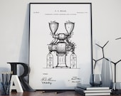 Coffee Grinder Patent Print, Poster Print, Coffee Poster, Kitchen Wall Art, Vintage Coffee Grinder Blueprint Art, Coffee Lover, QP608